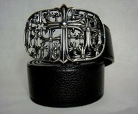 Chrome Hearts Silver Multi Cross Black Leather Belt