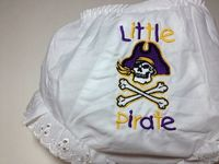 "East Carolina Diaper Cover Bloomers Embroidered with ""Little Pirate"" and Logo.. $12.50, via Etsy."