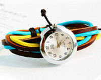 Colorful cords watch,leather wrap watch, leather band wrist watch, girl wrist watches, Leather watch bracelet ad