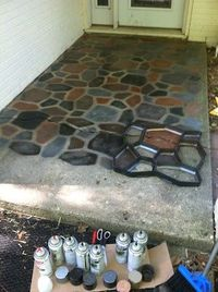 Spray Painted Faux Stones on Concrete using a concrete path form from the home improvement store!