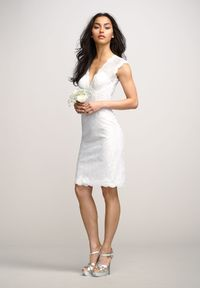 Lace V-Neck Column Reception Wedding Dress