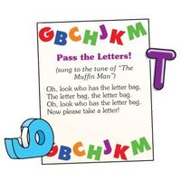 Sing the song while passing the letter bag. When the song stops have the child reach in the bag, pull out a letter and name it, produce the sound, or come up with a word with the same beginning sound. (Could do this with numbers, colors, shapes, or wo...