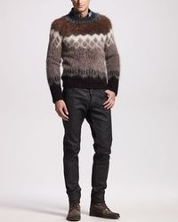 Wool-Mohair Sweater, Argyle Denim Shirt & Bull Oiled Black Jeans by DSquared2