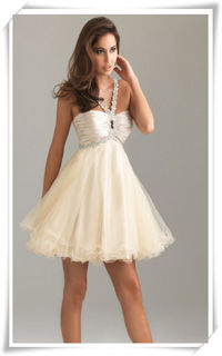 Nude Pleated Lace Embellished Strap Layered Prom Dress For Cheap