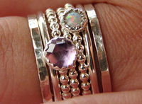 Opal & Amethyst Stackable Birthstones Mothers Rings - Personalized Rings
