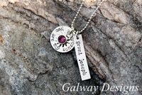 Hand Stamped circle and rectangle charm necklace by galwaydesigns, $28.00