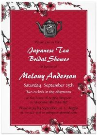 Red Black Japanese Tea Bridal Shower Invitation by wasootch