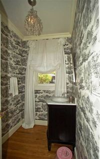 Black and white toile in the bathroom (from The Inspired Home)