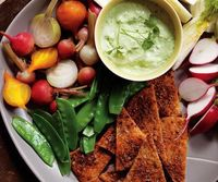 Green Goddess Dip with Vegetables & Homemade Pita Chips