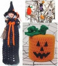 PS068 Spooky Decor Pattern- http://www.maggiescrochet.com/spooky-decor-pattern-p-1213.html#.UVNmg1eNpZ0 #crochet #pattern #Halloween #bag #witch #toilet #paper #topper #pumpkin #ornaments #decoration