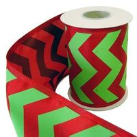 Lime Green and Red Chevron Stripe Ribbon 5 x 10 yd 100% Poly Wire Edge Ribbon is printed on one side