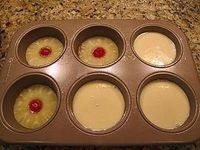 Mini Pineapple Upside Down Cake! Cake Ingredients: 2 Eggs 2/3 C White Sugar 4 Tbsp Pineapple Juice 2/3 C All Purpose Flour 1 Tsp Baking Powder 1/4 Tsp Salt Topping: 1/4 Cup Butter (1/2 Stick Or 4 Tbsp) 2/3 C Brown Sugar 1-can Pineapple Rings 6-mar...