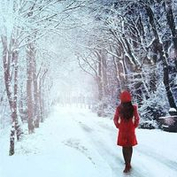 #snow #winter #girl #red #jacket #holidays