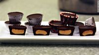 Homemade peanut butter cups (made in mini muffin tin with cupcake liners!)