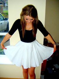 Black top and flowy skirt