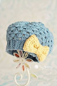 Todder 2T3T Girls Hat Slouch Hat with Bow Ready to by TinyTeapots, $30.00