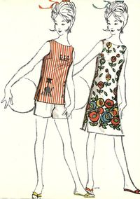 Vintage sewing fashion illustration.