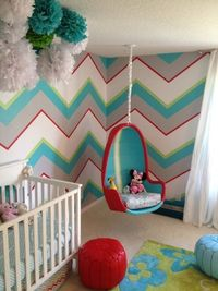Chevron walls AND a swing? Next baby room?