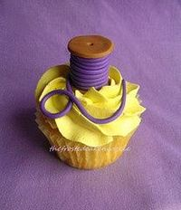 Spool of thread cupcake