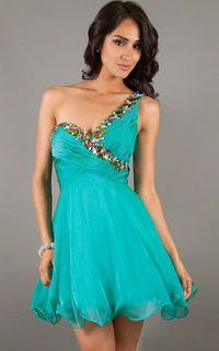 Jewels One Shoulder Teal Short Party Dress By Mori Lee 9234