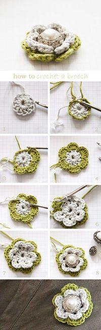 "Brooch flower--tracks back to a German blog; Google Translate does a decent job but note that blogger uses UK crochet terminology (i.e., UK ""triple crochet"" = US ""double crochet"", etc.)."