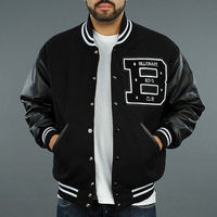 BBC men's letter B leather sleeves black letterman jacket