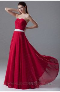 A-line Sweetheart Floor Length Chiffon Red Prom Dress with Sashes/Ribbons