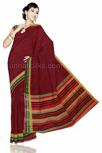 Feel on top of the world with this maroon color pure Madurai handloom cotton saree. It has detailed printed designs combined with lots of love and care. This madurai handloom cotton saree is embellished with attractive plain madurai cotton saree has got...