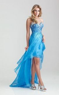 Blue Sparkly High Low Strapless Prom Dresses 2013