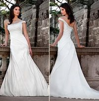 Fit-N-Flare One-Shoulder Floor Length Attached Silky Satin Wedding Dress Style D1022