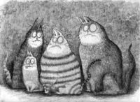 Three cats and one kitten. ©2012 Dain Fagerholm