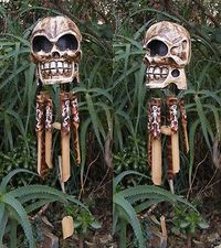 pirate skull skeleton bambo wind chime day of the dead voodoo decor 22