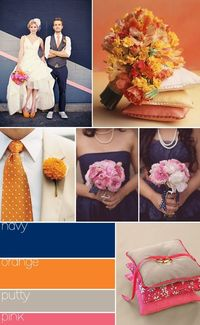 navy, orange, putty & pink