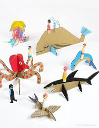 Peg Dolls with Cardboard Sea Creatures (via bliss blog)