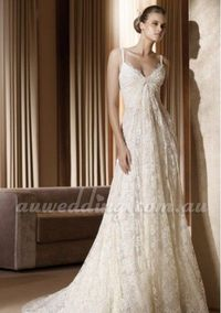 Summer Lace V-Neck Empire Bridal Dress