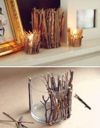 """DIY: Mini Branch Candle Holders Materials: candle holder with flat sides (any size) craft adhesive�€"""" multi-purpose for wood and glass surfaces garden pruners dry tree or shrub branches Step 1. Wash the candle holder with dish soap and ..."""