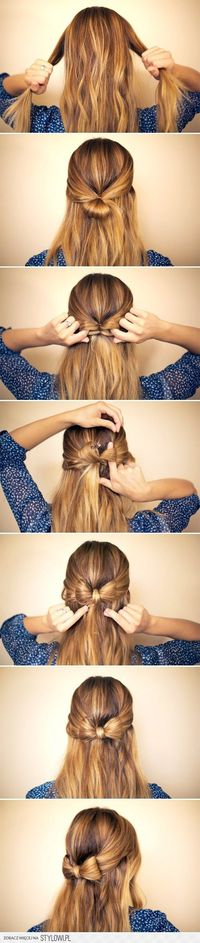 Easy bow half updo