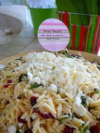 Orzo, feta, and cranberry pasta salad