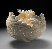 Jennifer McCurdy | Wheel Thrown and altered porcelain.