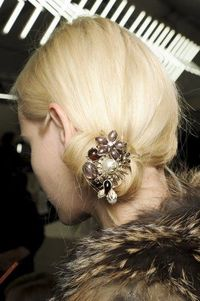 Jewels in hair.