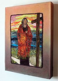 "Blessed Kateri Tekakwitha ""Lily of the Mohawks"" art quilt on canvas"