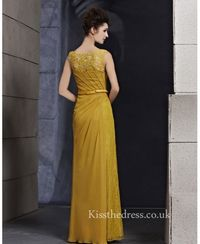 Yellow Lace Chiffon Round Neck Long Prom Dress For Mothers