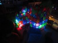 Magna Tiles buildng with LED lights or rope light..dim lights in room..