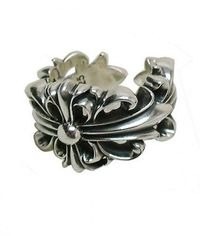 Popular Cheap Chrome Hearts Double Floral Cross Silver Ring for 2013