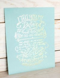 Vows Print // Gold Foil on Pool