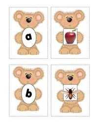This is a set of initial sound matching cards created with my favorite teddy graphic. The card sets each include a lower case letter and a graphic ...