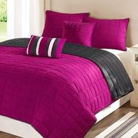Reversible Microfiber Quilt and Shams Bedding Set
