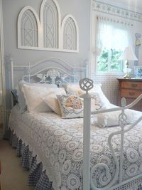 Gorgeous Blue and White With Crochet Bedding