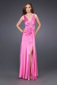 2013 Hot Pink Long Homecoming Dress With Side Split
