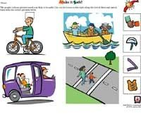 printable worksheet for grades PreK and K about various safety issues.